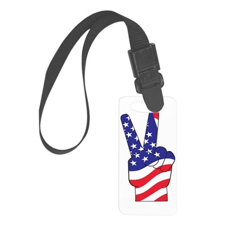 Patriotic USA Peace Sign Small Luggage Tag
