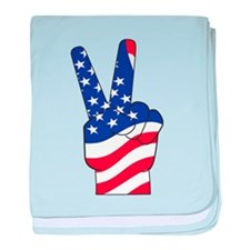 Patriotic USA Peace Sign baby blanket