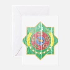 Turkmenistan Coat of Arms wood.png Greeting Card
