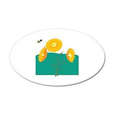 Bee Flowers 22x14 Oval Wall Peel