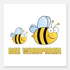 """Bee Whisperer Square Car Magnet 3"""" x 3"""""""