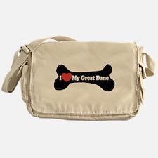 I Love My Great Dane - Dog Bone Messenger Bag
