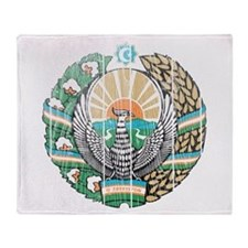 Uzbekistan Coat Of Arms Throw Blanket