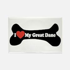 I Love My Great Dane - Dog Bone Rectangle Magnet