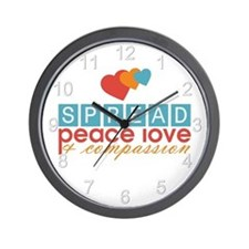 Spread Peace Love and Compassion Wall Clock