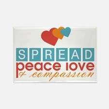 Spread Peace Love and Compassion Rectangle Magnet