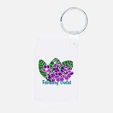 February Violet Aluminum Photo Keychain