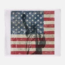Vintage Statue Of Liberty Throw Blanket