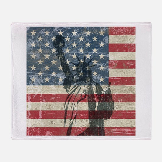 Vintage Statue Of Liberty Throw Blanket