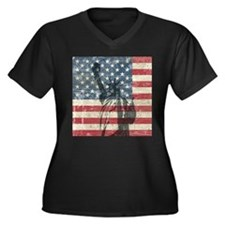 Vintage Statue Of Liberty Women's Plus Size V-Neck