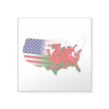 """American Welsh Map Square Sticker 3"""" x 3&quot"""
