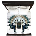 Native War Bonnet 02 King Duvet