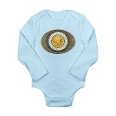 Indian gold oval 3 Long Sleeve Infant Bodysuit