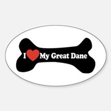 I Love My Great Dane - Dog Bone Sticker (Oval)