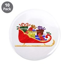 "Sleigh With GIfts 3.5"" Button (10 pack)"