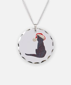 Christmas Cat With Hat Necklace