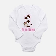 1st Birthday Cow Print and Horse Long Sleeve Infan