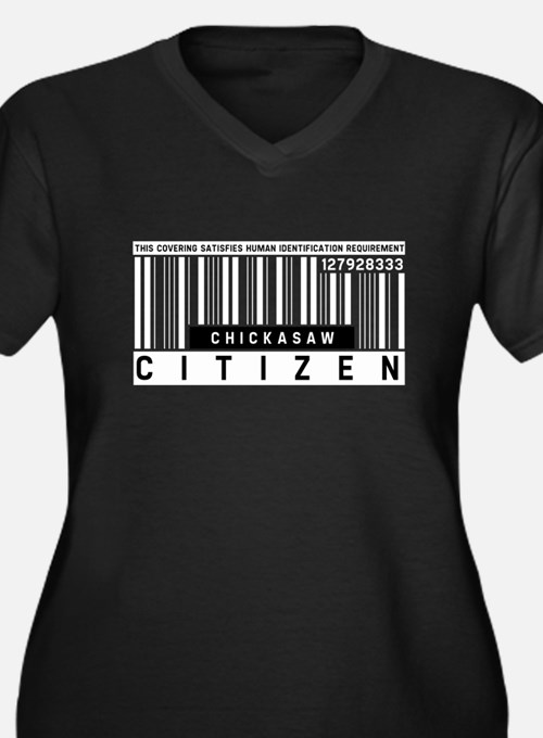 Chickasaw, Citizen Barcode, Women's Plus Size V-Ne