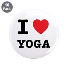 """I Heart Yoga 3.5"""" Button (10 pack)"""