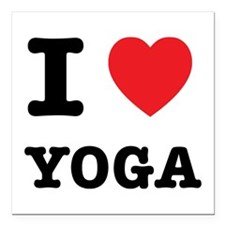 "I Heart Yoga Square Car Magnet 3"" x 3"""