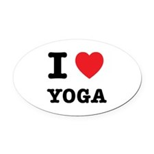 I Heart Yoga Oval Car Magnet