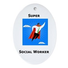 Super Social Worker Oval Ornament