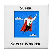 Super Social Worker Tile Coaster