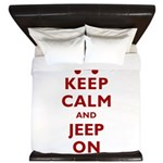 Keep Calm and Jeep On King Duvet