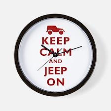 Keep Calm and Jeep On Wall Clock