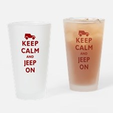 Keep Calm and Jeep On Drinking Glass