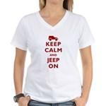 Keep Calm and Jeep On Women's V-Neck T-Shirt