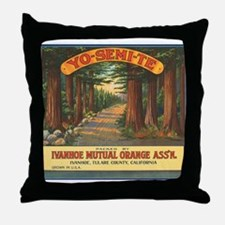 Yosemite Fruit Crate Label Throw Pillow