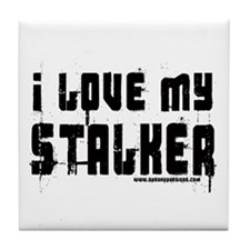 I Love My Stalker Tile Coaster