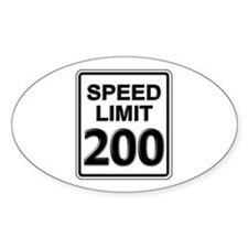 Speed Limit Sign (200 mph) Oval Decal