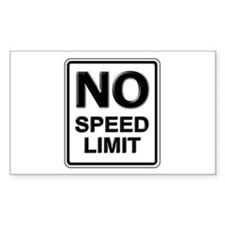 No Speed Limit Sign Rectangle Decal