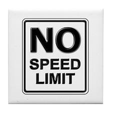 No Speed Limit Sign Tile Coaster