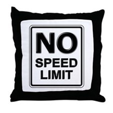 No Speed Limit Sign Throw Pillow