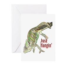 Chameleon Just Hangin Greeting Cards (Pk of 10