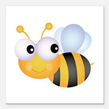 """Bee Square Car Magnet 3"""" x 3"""""""