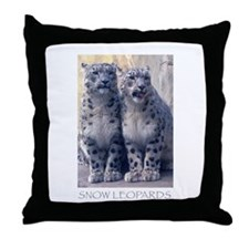 Funny Snow leopard cub Throw Pillow
