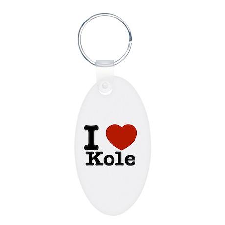 I Love Kole Aluminum Oval Keychain