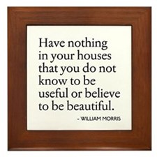 William Morris Quote Arts/Crafts Framed Tile