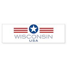 Wisconsin-Star Stripes: Bumper Bumper Sticker