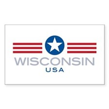 Wisconsin-Star Stripes: Rectangle Decal