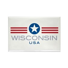 Wisconsin-Star Stripes: Rectangle Magnet