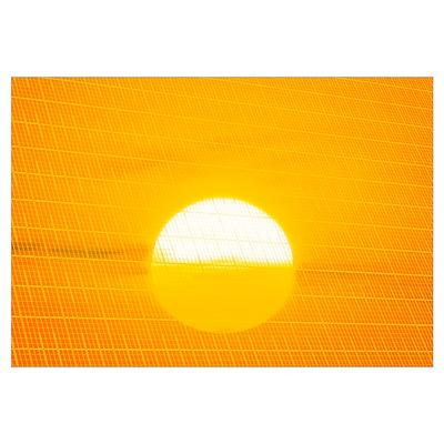 Sunset reflection on solar panel, artwork Poster