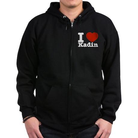 I Love Kadin Zip Hoodie (dark)