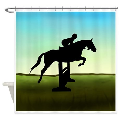 Hunter Jumper Grassy Field Shower Curtain