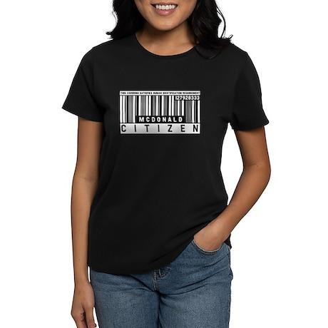McDonald Citizen Barcode, Women's Dark T-Shirt