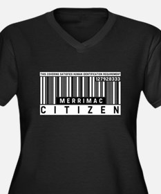 Merrimac Citizen Barcode, Women's Plus Size V-Neck